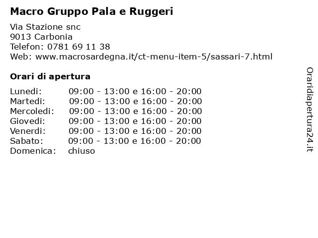 Macro Gruppo Pala e Ruggeri a Carbonia: indirizzo e orari di apertura