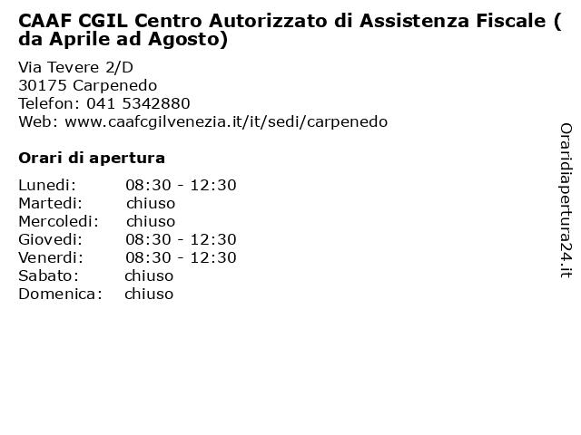 CAAF CGIL Centro Autorizzato di Assistenza Fiscale (da Aprile ad Agosto) a Carpenedo: indirizzo e orari di apertura