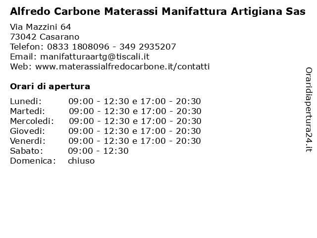 Alfredo Carbone Materassi.ᐅ Orari Alfredo Carbone Materassi Manifattura Artigiana Sas Via
