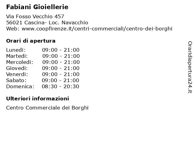 Fabiani Gioiellerie a Cascina- Loc. Navacchio: indirizzo e orari di apertura