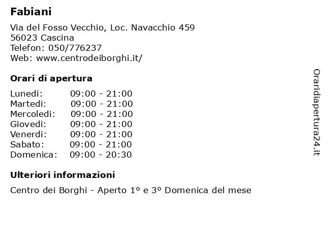 Fabiani a Cascina: indirizzo e orari di apertura