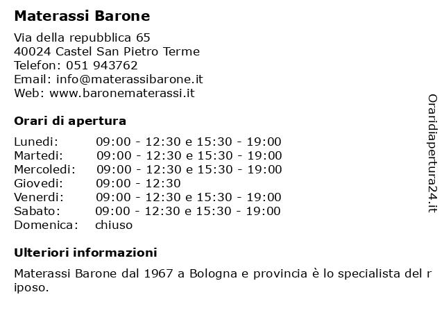 Materassi Barone.ᐅ Orari Materassi Barone Via Della Repubblica 40024 Castel