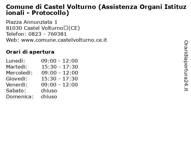 Comune di Castel Volturno (Assistenza Organi Istituzionali - Protocollo) a Castel Volturno(CE): indirizzo e orari di apertura