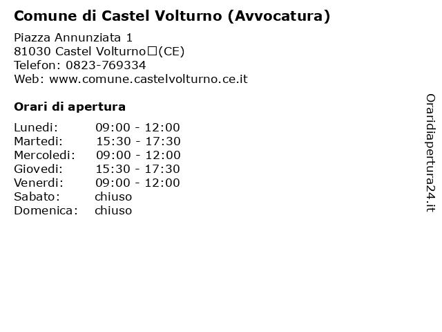 Comune di Castel Volturno (Avvocatura) a Castel Volturno(CE): indirizzo e orari di apertura
