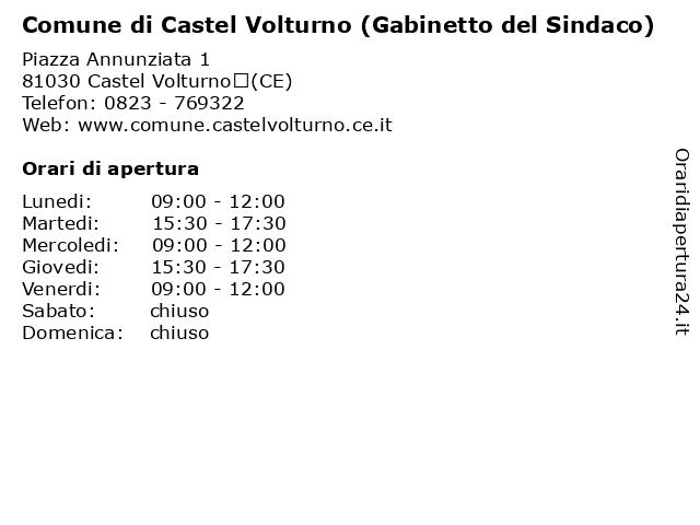 Comune di Castel Volturno (Gabinetto del Sindaco) a Castel Volturno(CE): indirizzo e orari di apertura