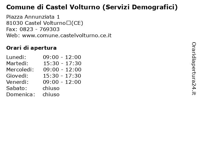 Comune di Castel Volturno (Servizi Demografici) a Castel Volturno(CE): indirizzo e orari di apertura