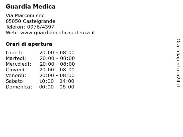 Guardia Medica a Castelgrande: indirizzo e orari di apertura
