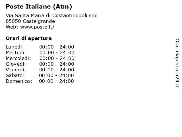 Poste Italiane (Atm) a Castelgrande: indirizzo e orari di apertura