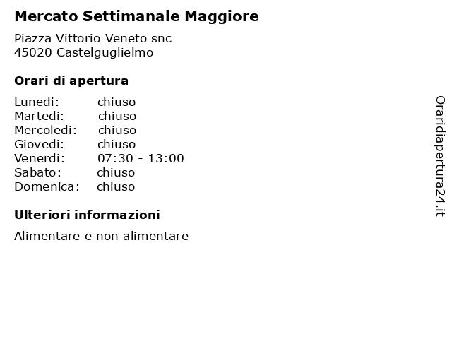 Mercato Settimanale Maggiore a Castelguglielmo: indirizzo e orari di apertura