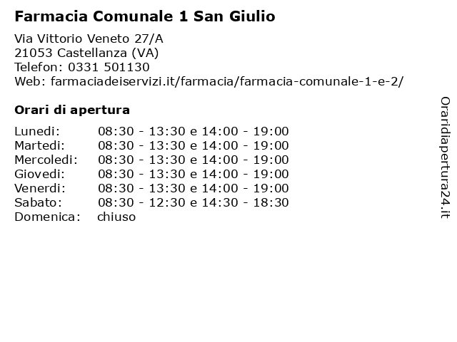Farmacia Comunale 1 San Giulio a Castellanza (VA): indirizzo e orari di apertura