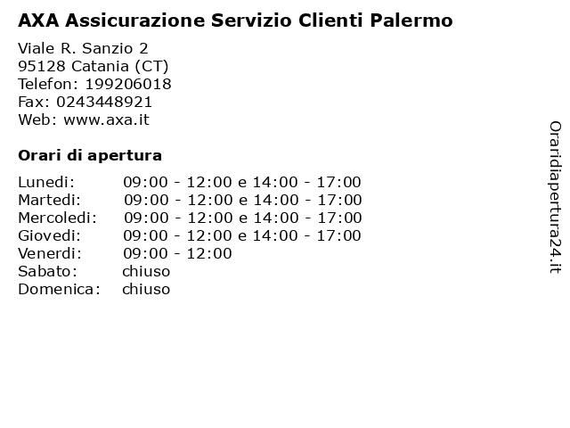 AXA Assicurazione Servizio Clienti Palermo a Catania (CT): indirizzo e orari di apertura