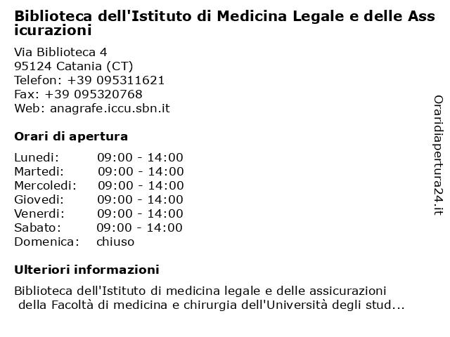 Biblioteca dell'Istituto di Medicina Legale e delle Assicurazioni a Catania (CT): indirizzo e orari di apertura