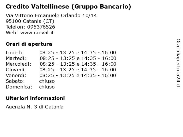 Credito Valtellinese (Gruppo Bancario) a Catania (CT): indirizzo e orari di apertura