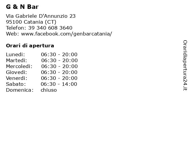 G & N Bar a Catania (CT): indirizzo e orari di apertura