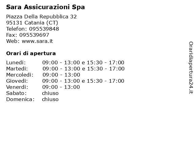 Sara Assicurazioni Spa a Catania (CT): indirizzo e orari di apertura