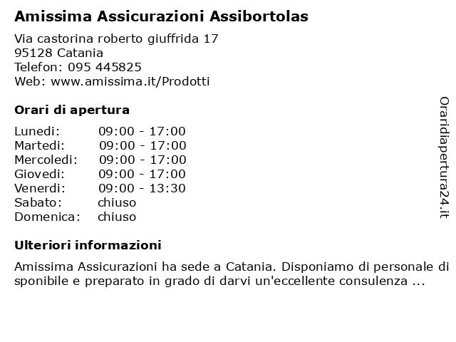 Amissima Assicurazioni Assibortolas a Catania: indirizzo e orari di apertura