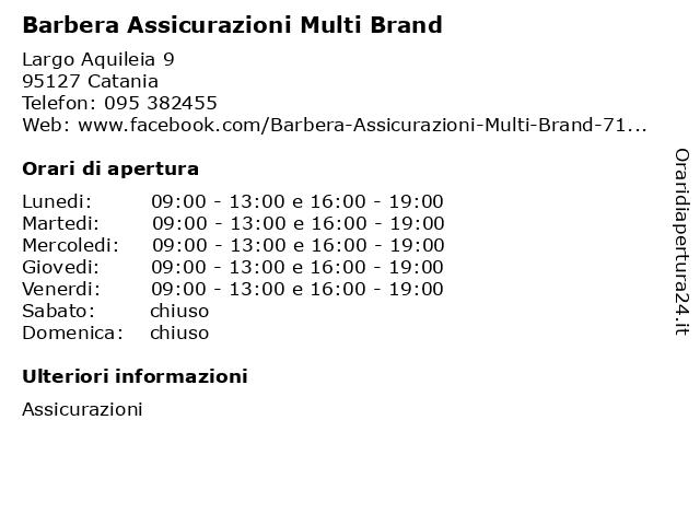 Barbera Assicurazioni Multi Brand a Catania: indirizzo e orari di apertura
