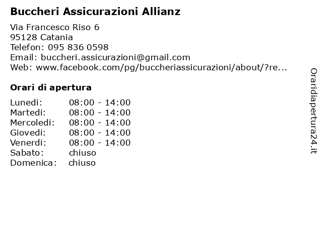 Buccheri Assicurazioni Allianz a Catania: indirizzo e orari di apertura