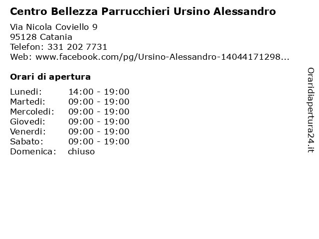 Centro Bellezza Parrucchieri Ursino Alessandro a Catania: indirizzo e orari di apertura