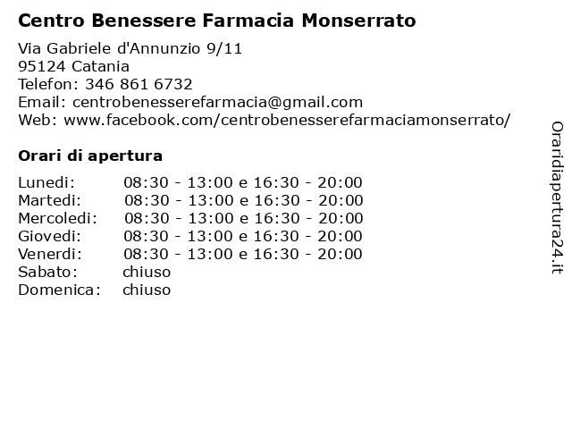 Centro Benessere Farmacia Monserrato a Catania: indirizzo e orari di apertura