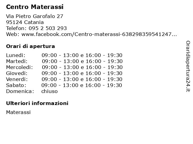 Á… Orari Di Apertura Centro Materassi Via Pietro Garofalo