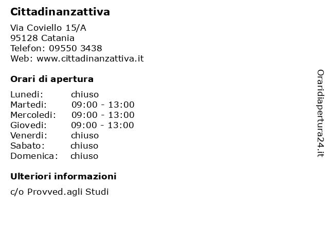 Cittadinanzattiva a Catania: indirizzo e orari di apertura