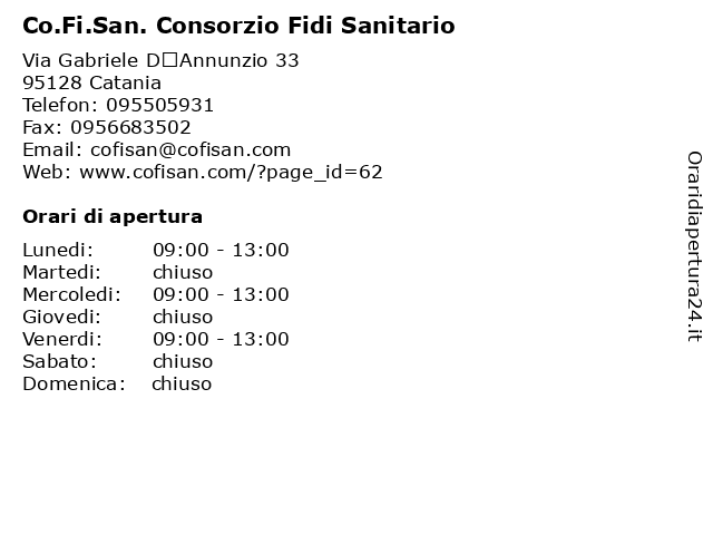 Co.Fi.San. Consorzio Fidi Sanitario a Catania: indirizzo e orari di apertura