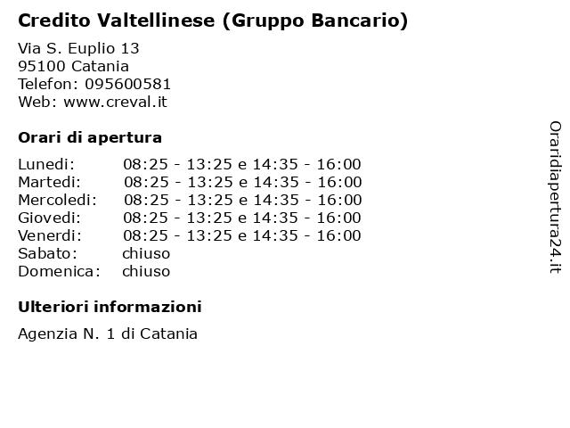 Credito Valtellinese (Gruppo Bancario) a Catania: indirizzo e orari di apertura