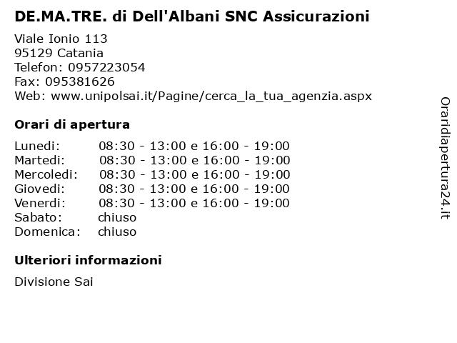 DE.MA.TRE. di Dell'Albani SNC Assicurazioni a Catania: indirizzo e orari di apertura