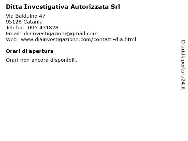 Ditta Investigativa Autorizzata Srl a Catania: indirizzo e orari di apertura
