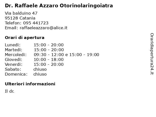 Dr. Raffaele Azzaro Otorinolaringoiatra a Catania: indirizzo e orari di apertura