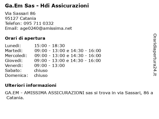 Ga.Em - Amissima Assicurazioni a Catania: indirizzo e orari di apertura