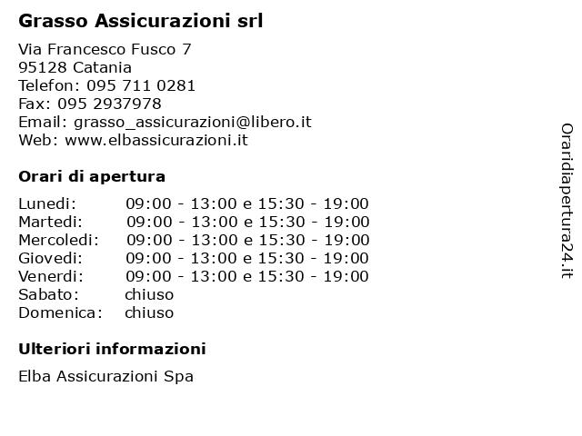 Grasso Assicurazioni srl a Catania: indirizzo e orari di apertura