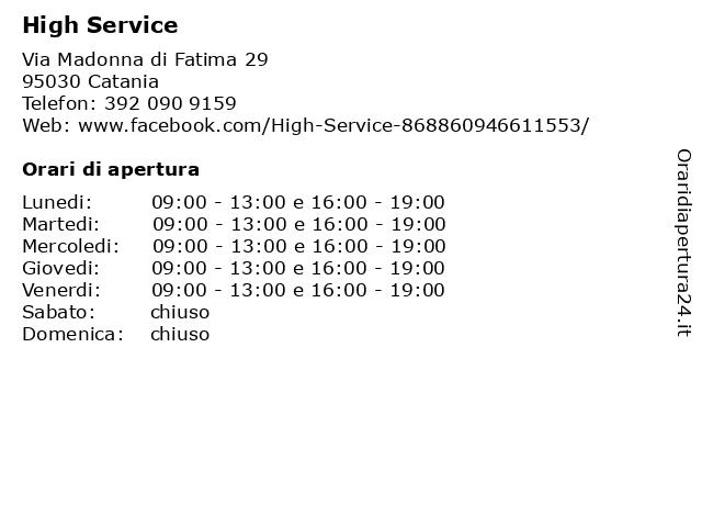 High Service a Catania: indirizzo e orari di apertura