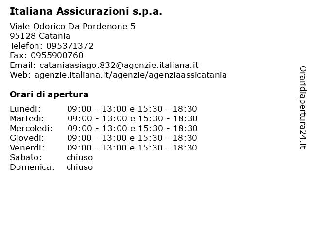 Italiana Assicurazioni s.p.a. a Catania: indirizzo e orari di apertura