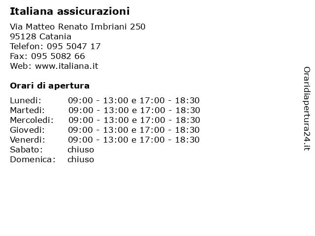 Italiana assicurazioni a Catania: indirizzo e orari di apertura