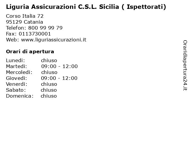 Liguria Assicurazioni C.S.L. Sicilia ( Ispettorati) a Catania: indirizzo e orari di apertura