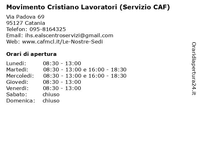 Movimento Cristiano Lavoratori (Servizio CAF) a Catania: indirizzo e orari di apertura
