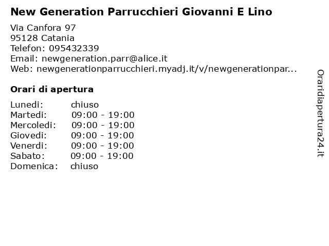 New Generation Parrucchieri Giovanni E Lino a Catania: indirizzo e orari di apertura