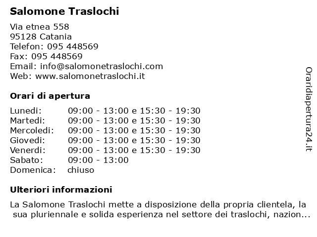 bar scala Lunedi  ᐅ Orari Salomone Traslochi | Via etnea 558, 95128 Catania