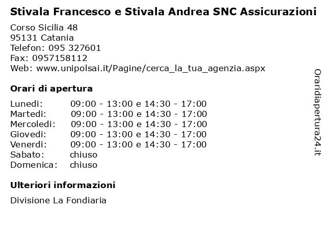 Stivala Francesco e Stivala Andrea SNC Assicurazioni a Catania: indirizzo e orari di apertura