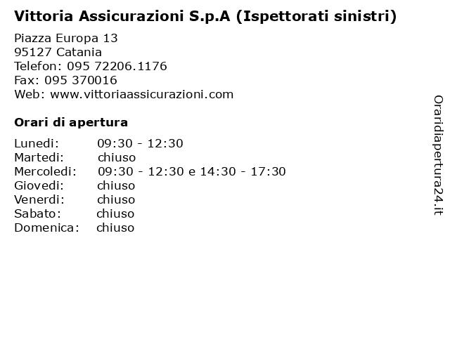 Vittoria Assicurazioni S.p.A (Ispettorati sinistri) a Catania: indirizzo e orari di apertura