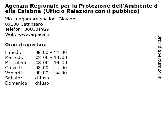 Agenzia Regionale per la Protezione dell'Ambiente della Calabria (Ufficio Relazioni con il pubblico) a Catanzaro: indirizzo e orari di apertura