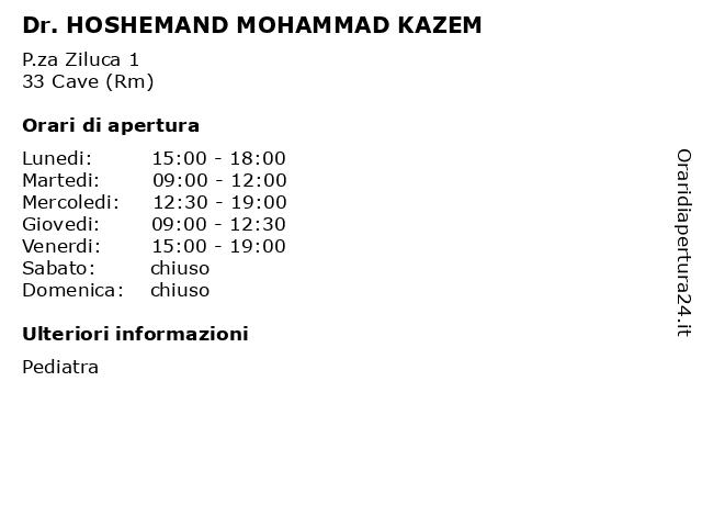 Dr. HOSHEMAND MOHAMMAD KAZEM a Cave (Rm): indirizzo e orari di apertura