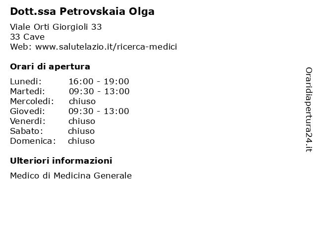 Dott.ssa Petrovskaia Olga a Cave: indirizzo e orari di apertura