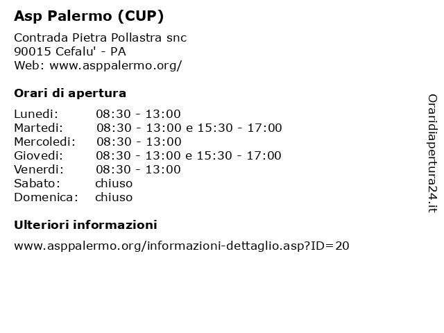 Asp Palermo (CUP) a Cefalu' - PA: indirizzo e orari di apertura
