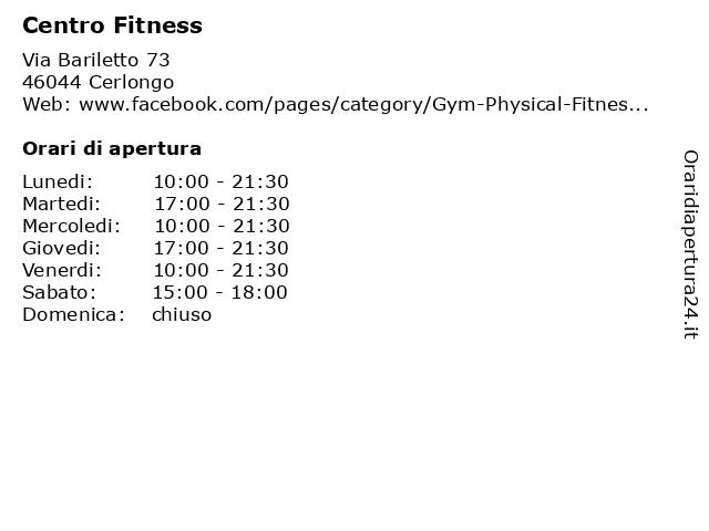Centro Fitness a Cerlongo: indirizzo e orari di apertura