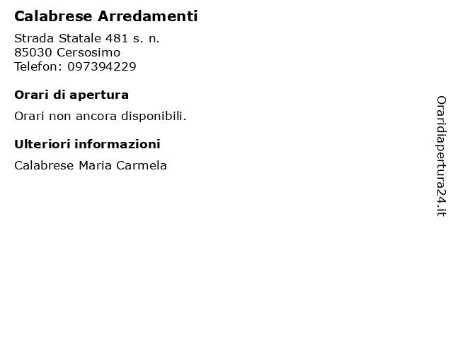 Calabrese Arredamenti a Cersosimo: indirizzo e orari di apertura