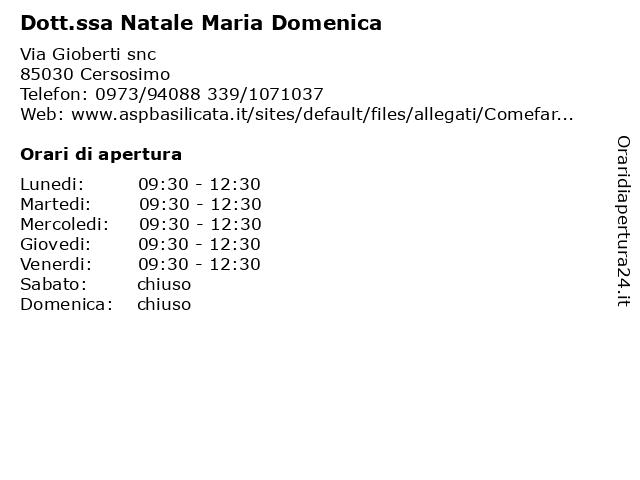 Dott.ssa Natale Maria Domenica a Cersosimo: indirizzo e orari di apertura