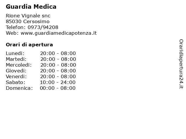 Guardia Medica a Cersosimo: indirizzo e orari di apertura
